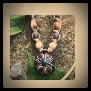 Blown Glass Pendant Flower Hemp Necklace
